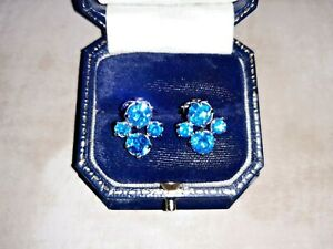 VINTAGE EARRINGS CLIP ON 50/60s Silver Tone DIAMANTE Design FAUX SAPPHIRE Lovely