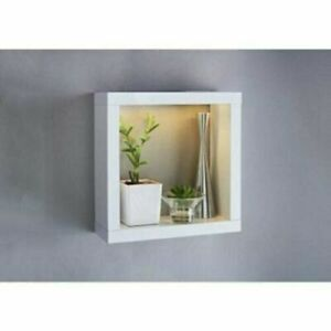 Alaska High Gloss Square Shelf With Built-in LED in Warm White Blue Colours