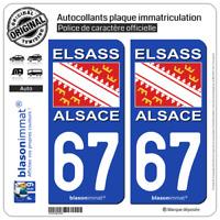 2 Autocollant plaque immatriculation auto | 67 Alsace Drapeau