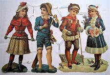 """EF #7137 German die cut embossed scraps """"VICTORIAN TEENS"""" boys & girls 4 seasons"""