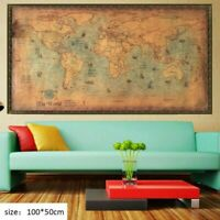 Nautical World Map Retro Old Art Painting Wall Paper Living Room Antique Poster