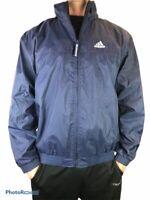 Adidas Full Zip Hooded Windbreaker Jacket Mens Size L Lined Retro Blue 2001 Hood