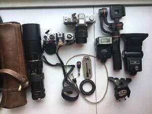 Camera Lot Minolta Nikon Vivtar Tzumi Flash Soligor 400mm UNTESTED SOLD AS IS