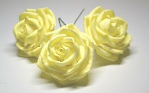 """sugar roses size 3"""" set of 3 yellow wedding cake decoration birthday toppers"""