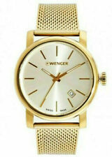 Wenger Swiss Made Men's Urban Vintage Gold-Toned Date 42mm Watch 01.1041.120 NWT