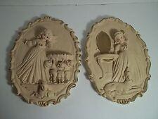 Set of 2 Vintage Oval Plaster Chalkware Wall Art Plaques Girls Dog Elves