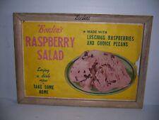 Vintage Borden's Raspberry Salad Wooden Frame Advertising Poster Store Display