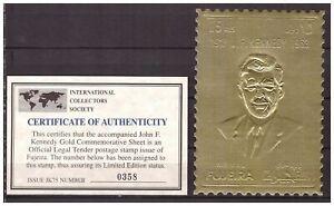 s14607) FUJEIRA 1967 MNH** Kennedy Gold Foil 1v  Large Size