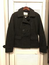 American Eagle Pea Coat Jacket Small Charcoal Gray Button Up Vintage 2000s