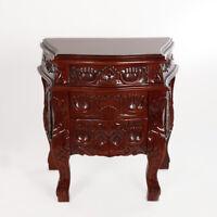 Nacht Kommode Tisch Barock Mahagoni Massivholz Antik Braun Schnitzereien Schubla