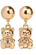 AW15 Moschino X Jeremy Scott Teddy Bear Clip On Earrings Gold Metal NOT A TOY!