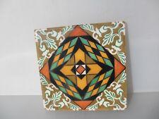 """Large Vintage Spanish Ceramic Tile Old Colourful Flower Gilt Leaf Design  8"""""""