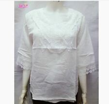 PLUS SIZE LACE BLOUSE - WHITE