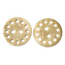 25 Crema de cáscara de coco hueco diseño redondo botones 15mm Costura Álbum De Recortes