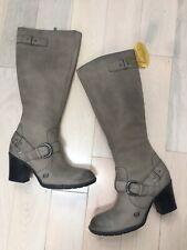 $225 BORN Gray Distressed Leather Natasha Buckle High Heel Riding Boots Size 8.5