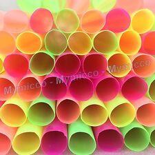 "100 BIG 1/2"" Dia. & LONG 12"" Plastic Neon Straws Shakes Smoothie - Mymicco 17312"