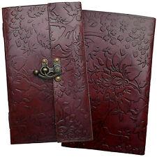 """9"""" Handmade Leather Floral Embossed Vintage Sketchbook Journal Diary Notebook"""