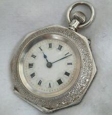 * OTTAGONALE SPLENDIDA incisa Case & Quadrante Argento Orologio da taschino CILINDRO * riparazione.