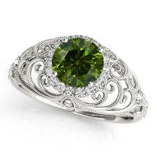 0.54 Ct Fancy Green Diamond SI2 Halo Wedding Ring Stunning 14k White Gold