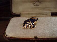 Pequeño Elefante Esmalte Azul Marino Oscuro Broche Pin con Cristales Claro Chapado en Oro