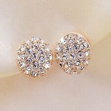 Fashion Elegant Women Lady Circle Crystal Rhinestone Ear Stud Earrings Jewelry