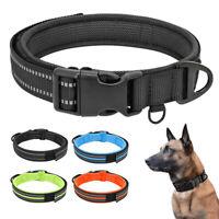 Nylon Reflective Dog Collar Padded Adjustable Small Medium Large Dogs Rottweiler