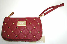 NEW-MICHAEL KORS QUILTED STUDS RED LEATHER+GOLD TONE HARDWARE WRISTLET,CLUTCH