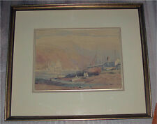 CANADIAN PAINTING WATERCOLOR  BY  A. C. LEIGHTON THE FISHING BOATS 1930'S