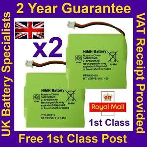 2x New Replacement Batteries for BT Verve 450 410 Cordless Phones UK 2.4V 600mAh
