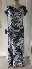 Design sample gorgeous navy & white abstract botanical print maxi dress size M