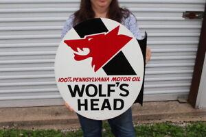 """Vintage 1971 Wolf's Head Motor Oil Gas Station 2 Side 22"""" Metal Flange Sign NICE"""