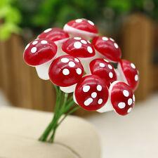 20pcs Mini Red Mushroom Miniature Plant Pots Fairy Garden Home Decoration Gadget