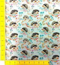 Wi115 Hedgehog Retro Enchanted Forest Mushrooms Truffles Cotton Quilt Fabric