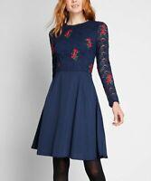 Modcloth Navy Blue Red Floral Embroidered Lace A Line Dress Size 6 Fit and Flare
