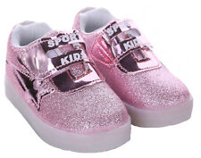 Light up Shoes LED Flashing Trainers Casual SNEAKERS Kids Boys Girls Baby Shoes Glitz Purple 9 Infant
