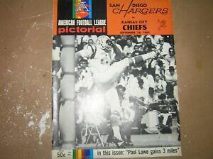 Vintage 1965 AFL Program San Diego Chargers vs. Kansas City Chiefs September 26