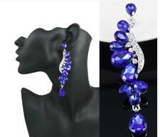 "royal Blue Crystal Rhinestone Earrings 3.25"" Chandelier Evening Formal Prom"
