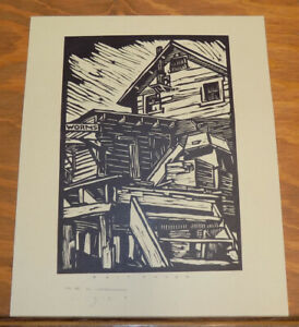 1938 Antique Woodcut Print Scene of a BAIT HOUSE, by Earl Washington
