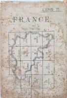 WW1 1915 LARGE CANVAS ORDNANCE SURVEY MAP OF FRANCE, LENS 11.