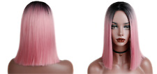 Synthetic Heat Resistant Ombre Black/Rosé Pink Wig Short Bob Straight Full Hair