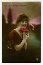 c 1920 Fashion FRENCH BEAUTY Lady glamour photo postcard