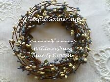 "WILLIAMSBURG BLUE CREAM 4"" Diameter Pip Berry Candle Ring Primitive Crafts"