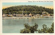 Pomeroy Ohio 1930-40s Postcard On the Ohio River View From West Virginia