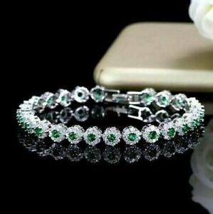 """6.00 CT Round Emerald & Diamond 7"""" Flower Bracelet 14K White Gold Over For Women"""