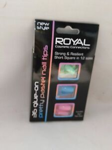 Royal 36 Glue-On Pretty Pastel Nail Tips With Glue Pink/Blue/Green
