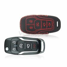 Car Remote KeyFob Holder Cover 5-Buttons For Ford F150 Genuine Leather Key Case