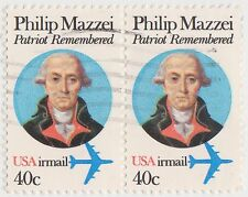(UST-404) 1980 USA 40c pair Patriot remembered air mail (I)