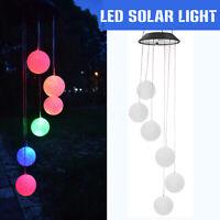 Aeolian Bell Wind Chime LED Solar Powered Light String Lawn Garden Stake Lamp Ω