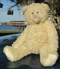 "VINTAGE WHITE TEDDY BEAR 17"" BLUE EYES PINK NOSE SHERLING ARTIST DEBRA BEDWELL"