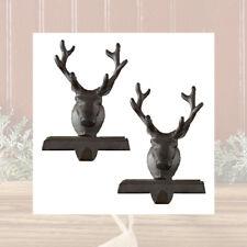 Reindeer Christmas Stocking Holder Hanger Heavy Cast Iron Vintage Set of 2